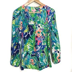 LILLY PULITZER 100% SILK TROPICAL PRINT BLOUSE XS